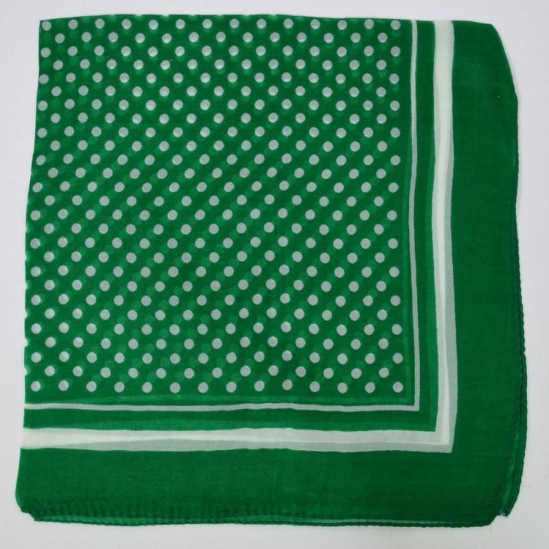 Petit carré en mousseline vert à pois