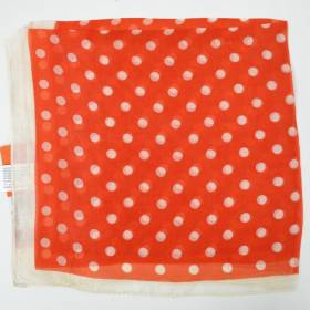 Petit carré en mousseline orange à gros pois