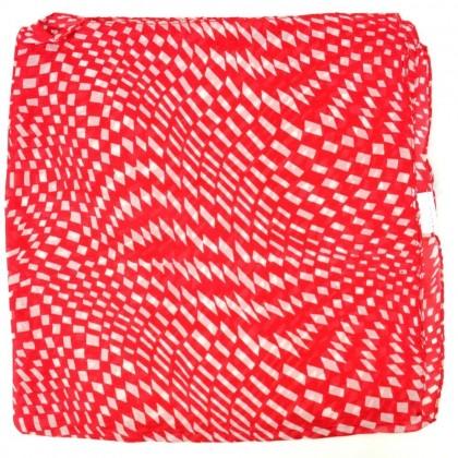 Petit carré en mousseline rouge à rectangles