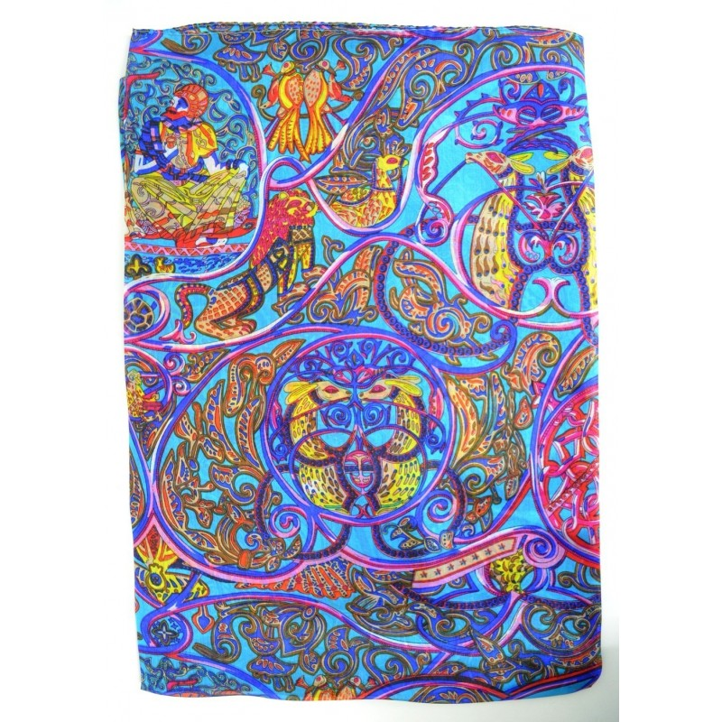 Etole en soie imprimée bleu et jaune