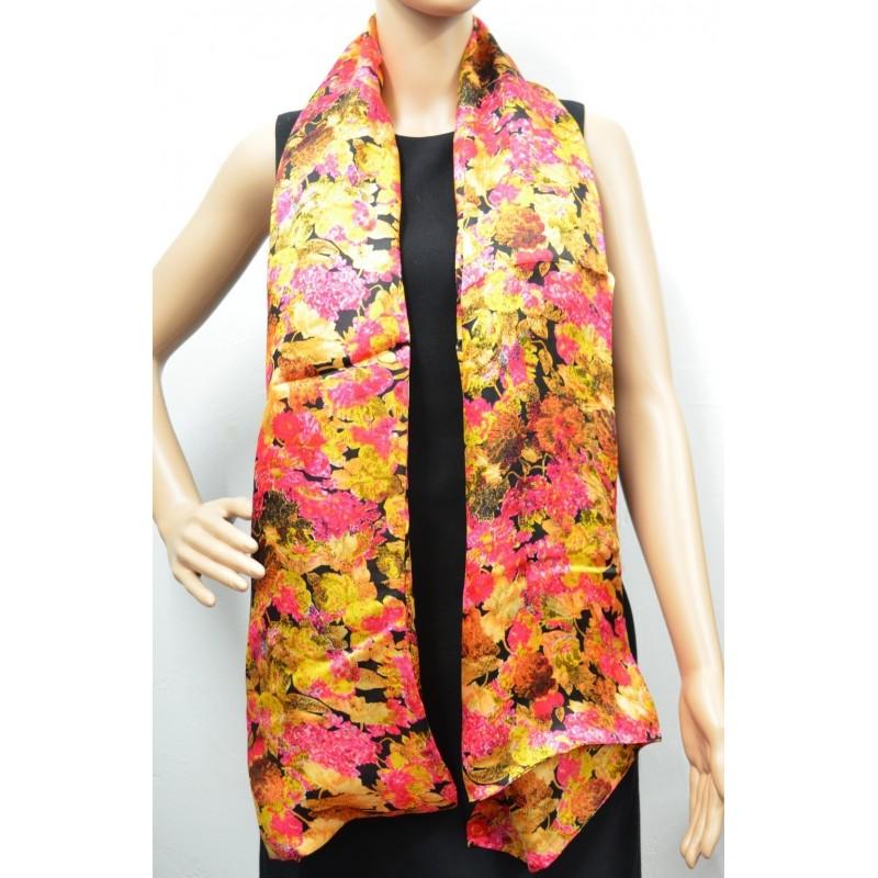 Grande écharpe doublée jaune et rose
