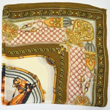 Petit carré en soie cheval marron et beige