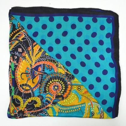 Petit carré en soie à pois et fleurs, bleu