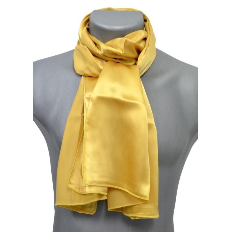 Echarpe en satin de soie or