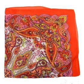 Petit carré en mousseline imprimé indien orange
