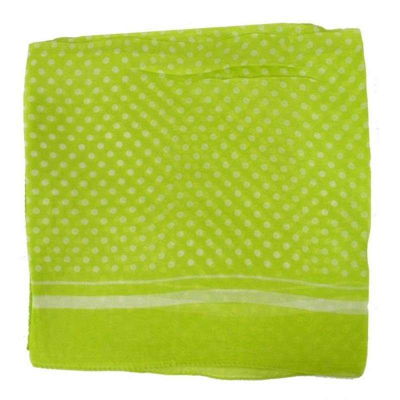 Carré 100 cm en mousseline vert à pois