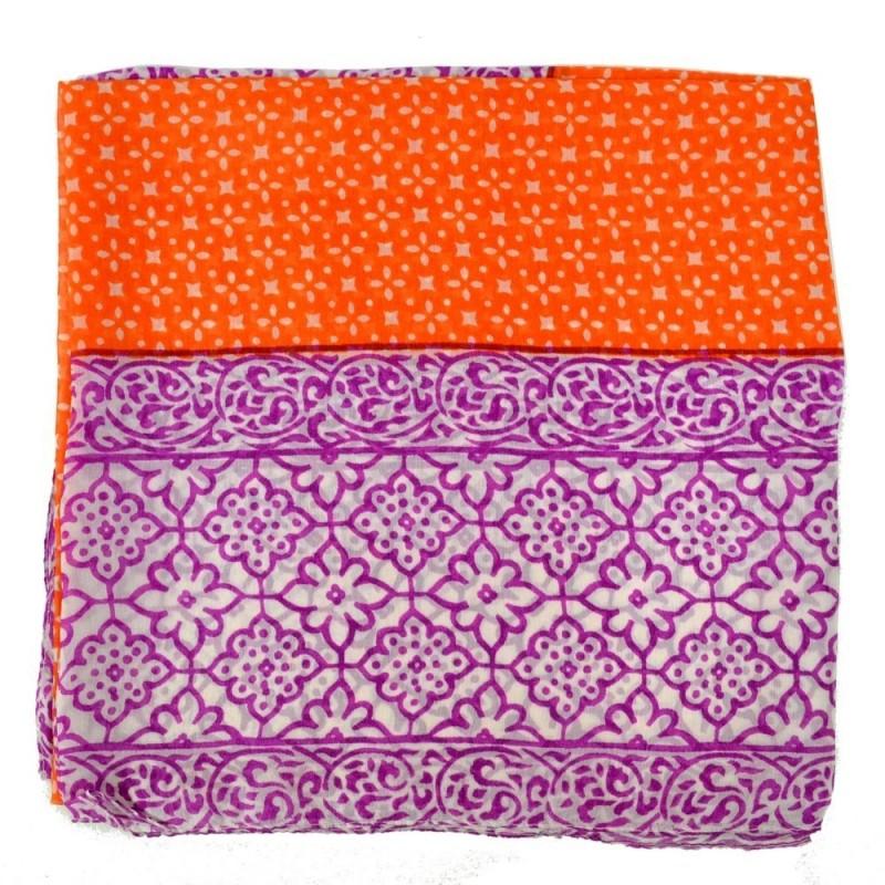 Carré femme 102 cm en mousseline rose et orange