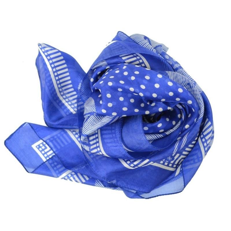 Carré femme 106 cm en soie bleu à fleurs blanches
