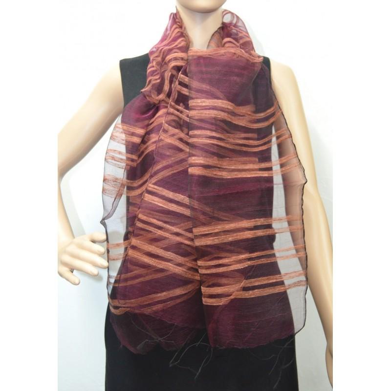Etole en organza de soie marron