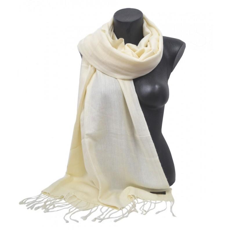 Etole en soie et cachemire beige clair