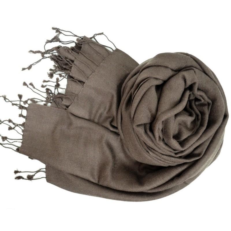 Etole en soie et cachemire marron