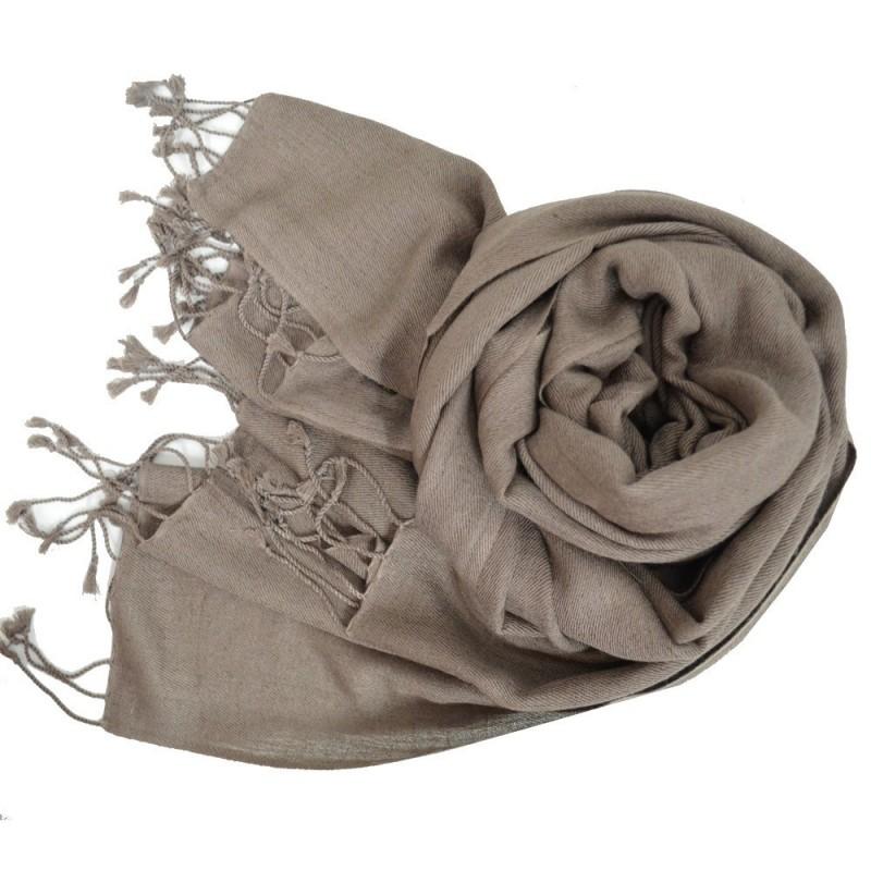 Etole en soie et cachemire taupe