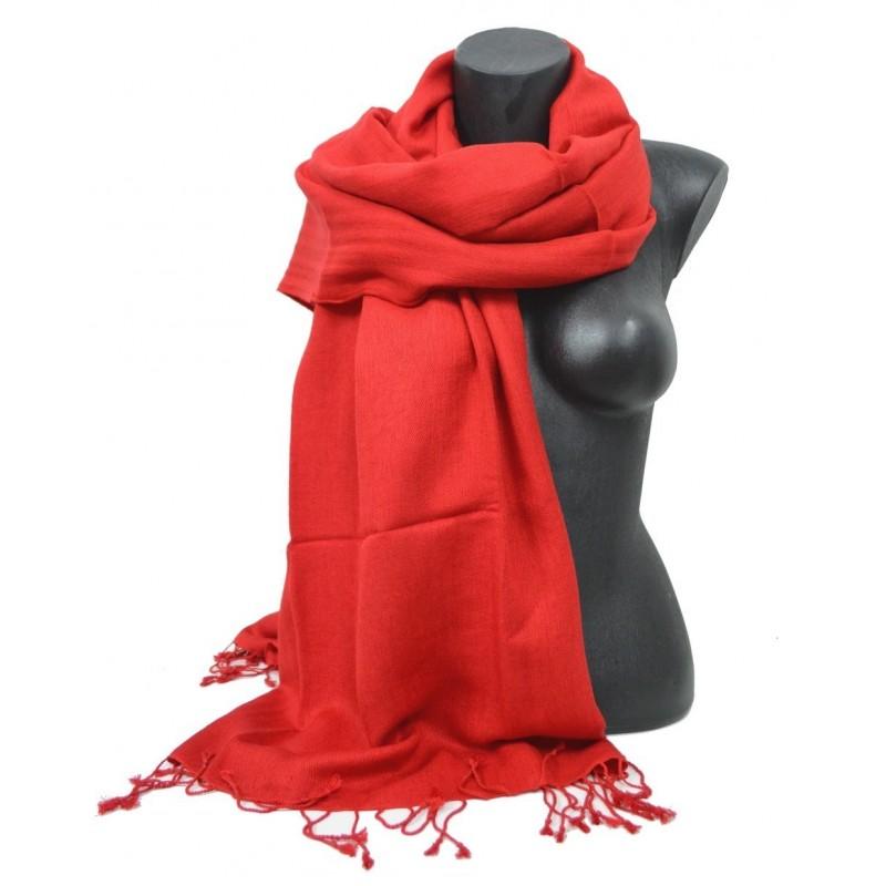 Etole en soie et cachemire rouge
