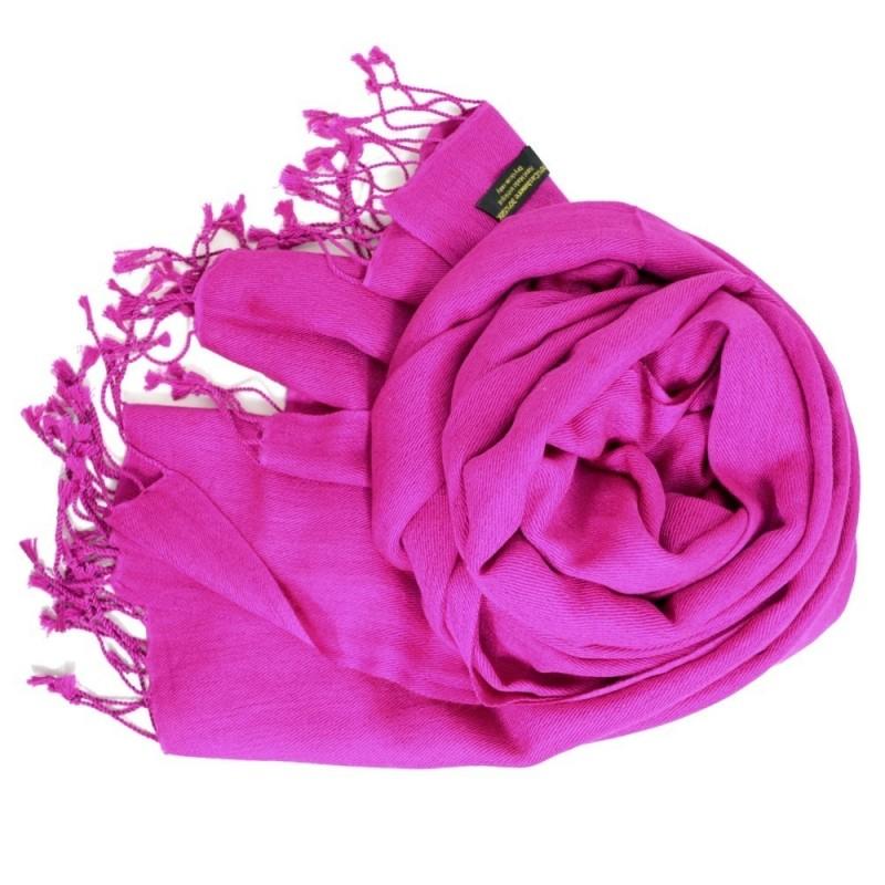 Etole en soie et cachemire rose fuschia