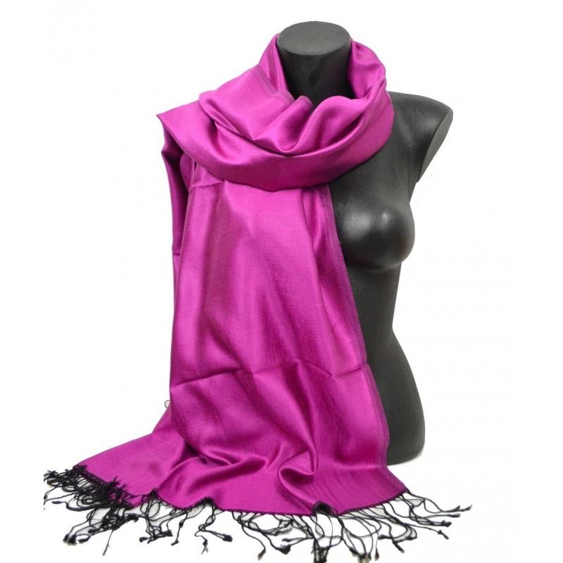 Etole en soie réversible rose et noire