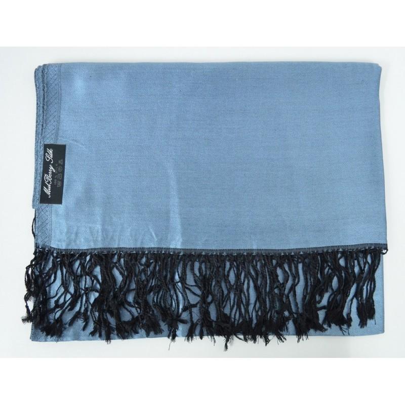 Etole en soie réversible bleu-jean et noire