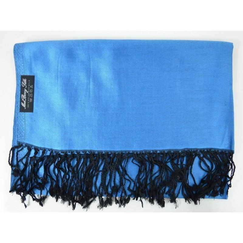 Etole en soie réversible bleu foncé et noire