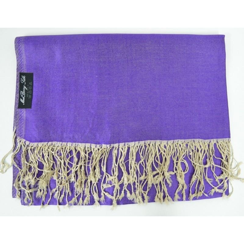Etole en soie réversible violette et beige