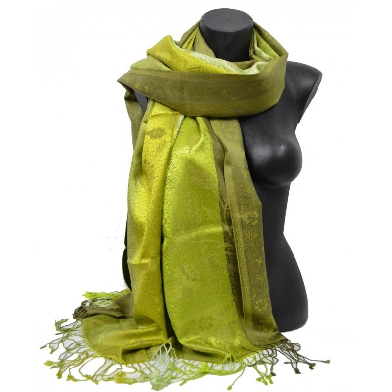 Pashmina en soie antique jacquard vert anis