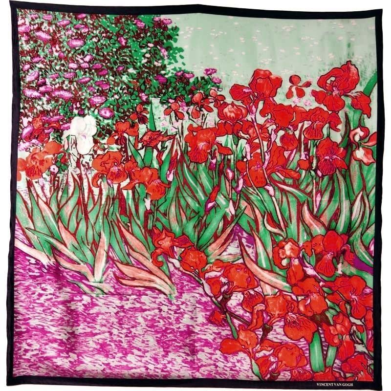 "Foulard carré motif tableau ""Iris"" Van Gogh"