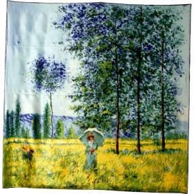 Foulard carré motif tableau femme ombrelle