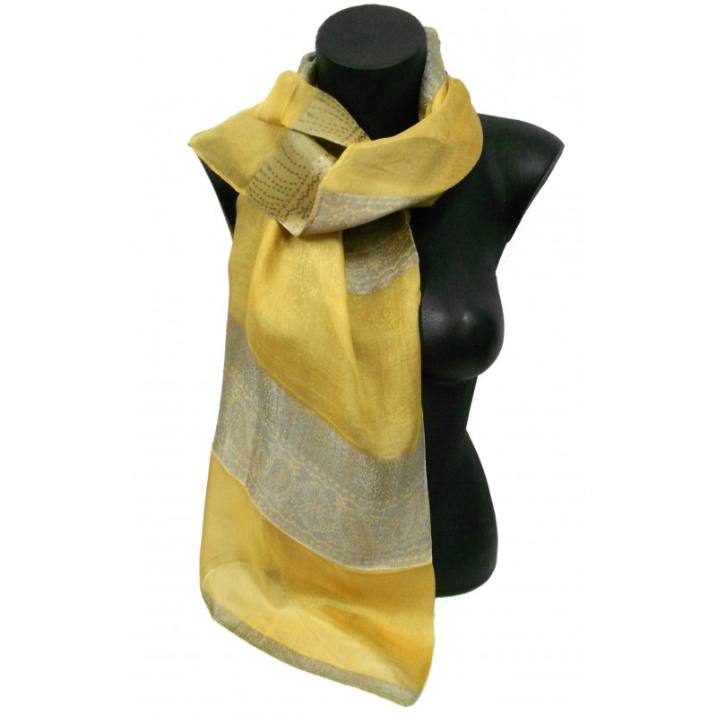 6905f41c0343 Foulard en soie jaune moutarde