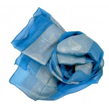 Foulard en soie bleu