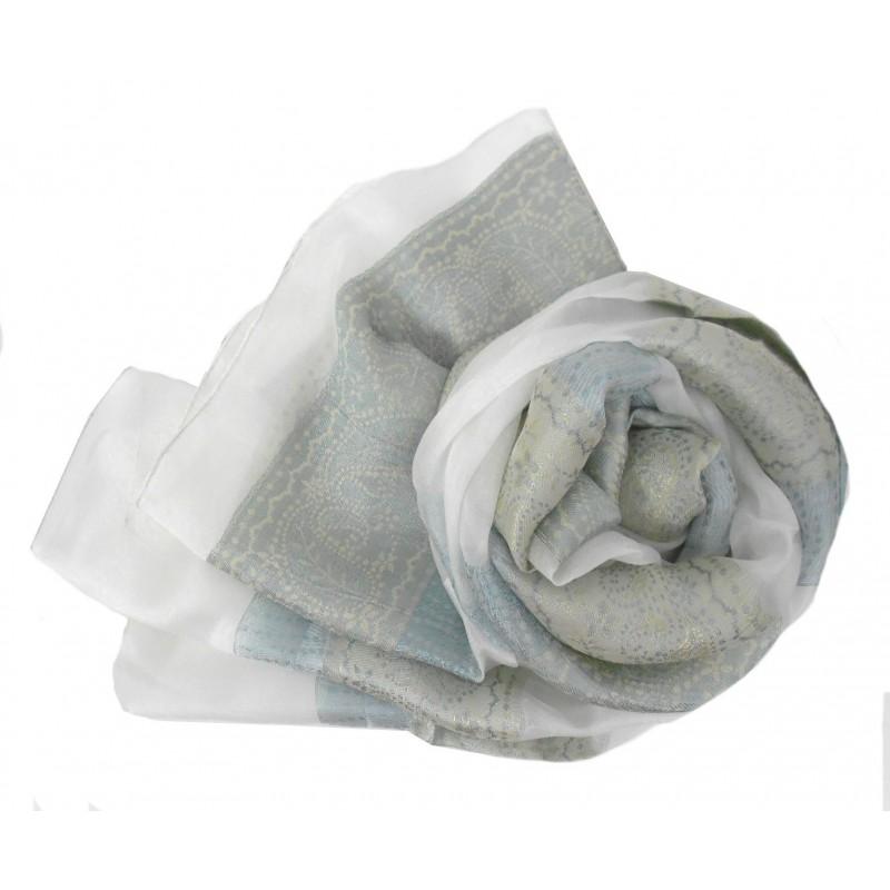 Foulard en soie blanc et gris