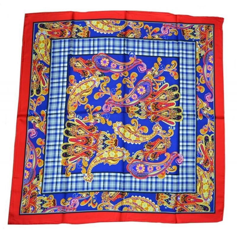 Carré en twill de soie bleu et rouge  / écrin