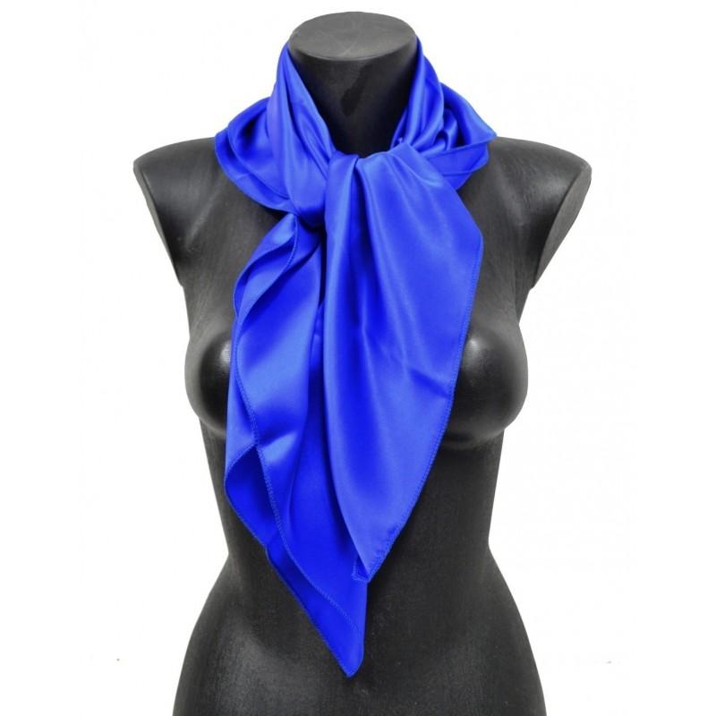 Carré en soie bleu roi 80cm 16môme