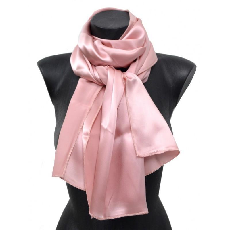 Echarpe en satin de soie rose poudre