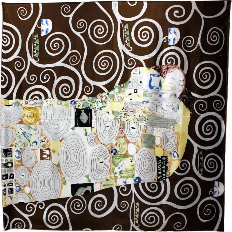 Carré de soie l'arbre de vie de Klimt (noir)