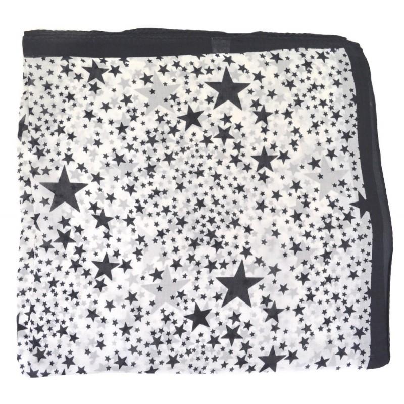 Foulard carré en soie blanc et noir à étoiles