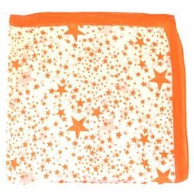 Foulard carré en soie orange à étoiles