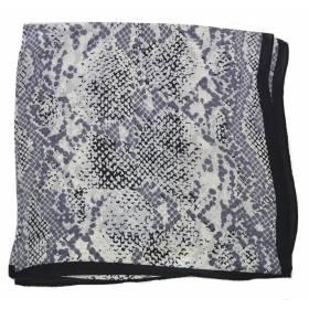 Petit carré en soie python gris