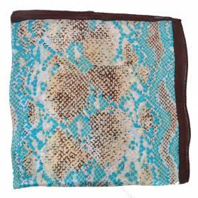 Petit carré en soie python bleu