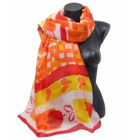 Etole en soie orange - tulipes/coeurs