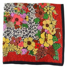 Petit carré en soie rouge fleurs