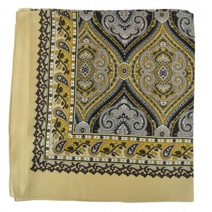 Petit carré en soie paisley beige
