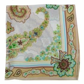 Petit carré en soie paisley fleur marron
