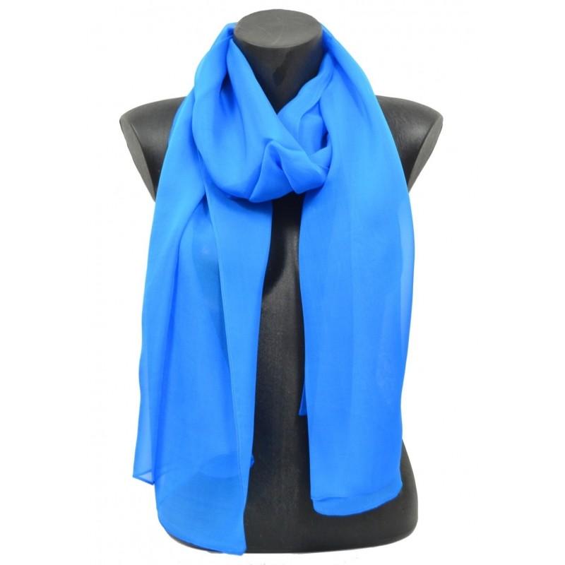 Echarpe en mousseline unie bleu