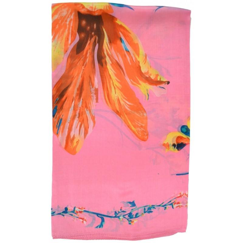 Etole en soie rose - fleurs et têtes de mort