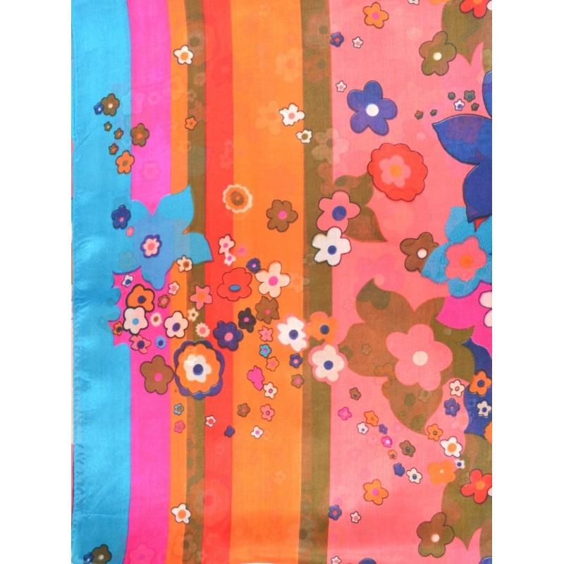 Etole en soie rayures et fleurs bleu-rose