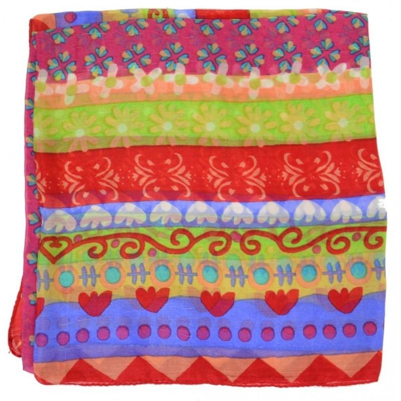 Foulard carré 100 cm à fleurs rouge
