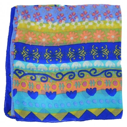 Foulard carré 100 cm à fleurs bleu
