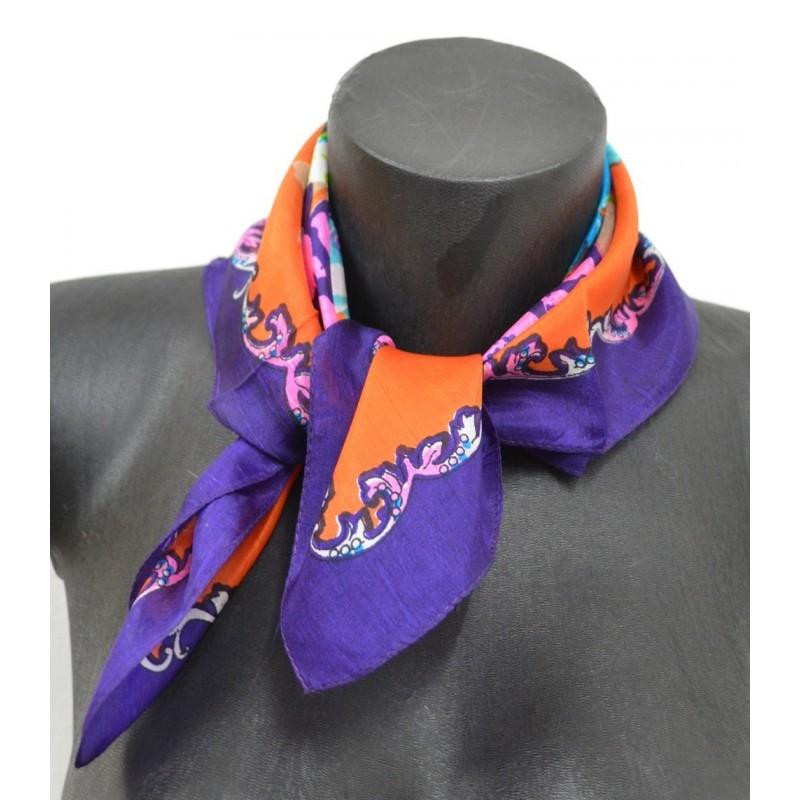 Carré soie 50cm orange et violet à fleurs