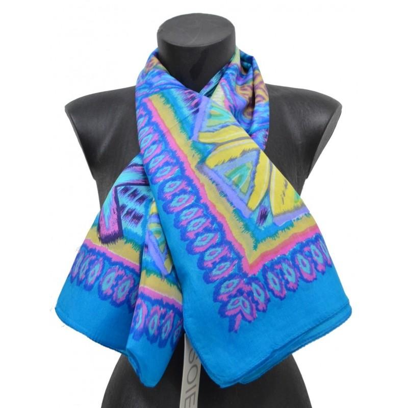 Foulard carré 100 cm ethnic bleu