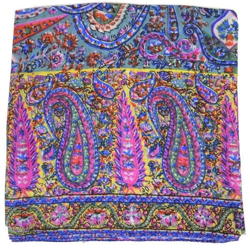 Foulard carré 100 cm imp cachemire lilas