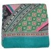 Foulard carré 100 cm ethnic vert rose