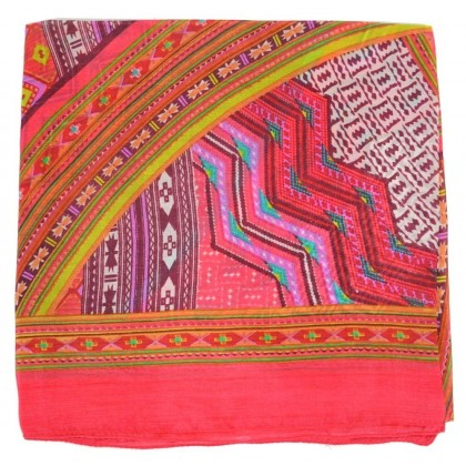 Foulard carré 100 cm ethnic rose